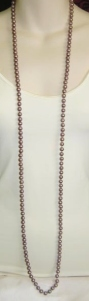 Vintage 1980s mauve purple glass pearl knotted long flapper necklace