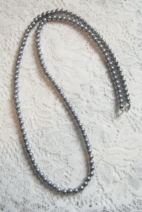 Long metallic silver grey glass pearl bead flapper necklace