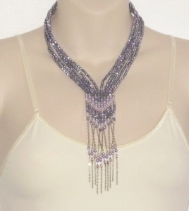 Beautiful lilac and purple Czech glass crystal bead tassel necklace