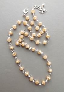 Handmade pastel toffee beige sparkling glass crystal bead elegant necklace