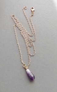 Handmade chevron amethyst gemstone pendant faceted drop, on rose gold tone colour chain.