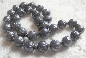 Vintage circa 1980s textured metallic silver glass pearl bead chunky necklace