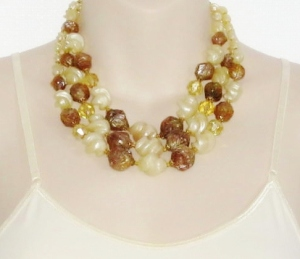 vintage 1960s 2 row chunky brown and yellow plastic bead collar necklace