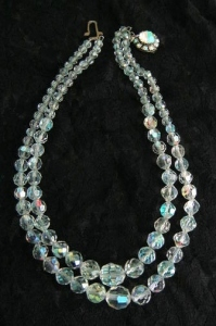 Vintage 1960s 2 row clear glass AB aurora borealis crystal sparkling bead bridal necklace, with diamante rhinestone clasp.