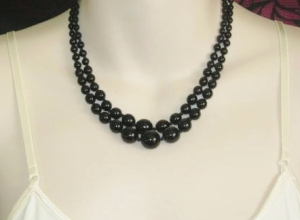 vintage circa 1960s smooth round graduated 2 row French Jet bead necklace black glass beaded jewelry