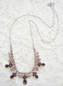 Vintage circa 1980s purple and lilac glass paste rhinestone pear cut necklace, in silver tone metal