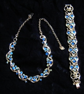 vintage 1960s demi parure blue glass rhinestone paste Ab necklace and bracelet gold tone set, signed Jewelcraft