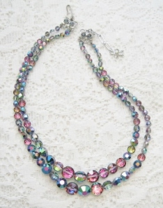 vintage circa 1960s mystic aurora glass crystal bead 2 row strand necklace
