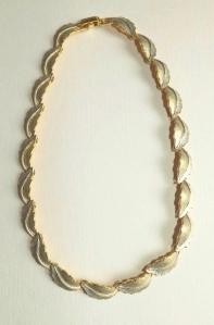 vintage circa 1960s matte gold tone swirl collar statement necklace