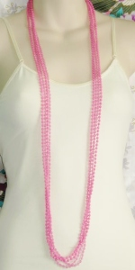 Vintage 1980s pink plastic fused bead layered long necklace.