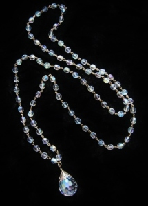 Vintage circa 1960s glass crystal aurora ab bead long necklace, with statement teardrop pendant