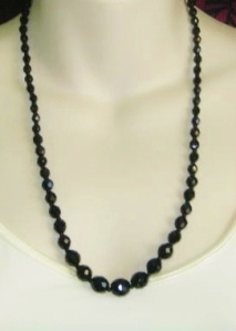 Vintage 1970s opera length French Jet black glass graduated bead necklace