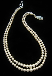 Vintage circa 1960s graduated white glass pearl 2 row strand necklace, with diamante clasp.