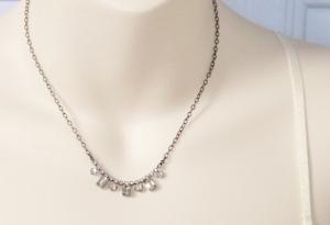 vintage 1960s elegant small glass rhinestone clear paste chain tiara necklace