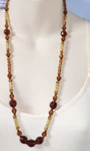 Beautiful yellow and smokey quartz colour faceted Czech glass crystal bead opera length necklace