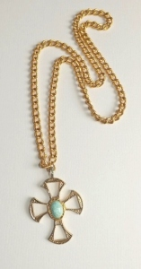 Vintage circa 1970s huge gold tone glass turquoise stone cross pendant on chunky gold tone chain.