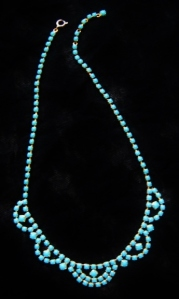 Vintage circa 1970s opaque turquoise glass rhinestone gold tone drape necklace prom bridal wedding swag jewellery