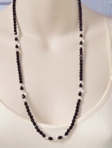 vintage circa 1980s French Jet black and clear glass Czech bead opera length necklace