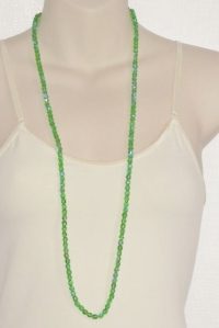 Long flapper faceted sparkling green Czech glass crystal flapper long necklace
