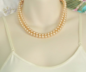 Vintage peach 2 row glass pearl bead bridal wedding necklace