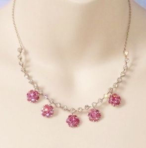 Vintage circa 1960s pink and clear glass paste rhinestone sparkling necklace