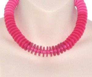 Vintage 1980s bright pink disc bead plastic statement necklace