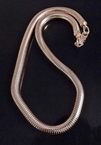 Vintage circa 1980s huge thick rose gold tone snake chain necklace