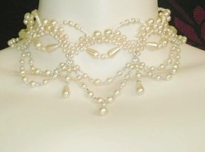 Vintage circa 1980s cream glass pearl bridal wedding fancy choker necklace