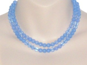 Vintage 1960s blue opalite opalescent glass bead 2 row strand necklace