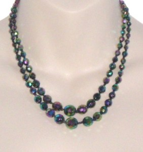 Vintage circa 1960s carnival glass faceted bead 2 row strand necklace