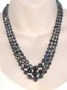 Vintage circa 1960s carnival glass faceted bead 3 row strand necklace