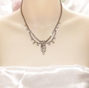 Vintage 70s clear glass paste rhinestone swag drape tassel necklace