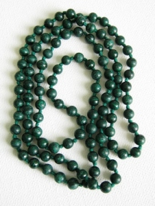 Vintage 1970s dark green genuine natural solid malachite round bead long necklace, knotted for security.