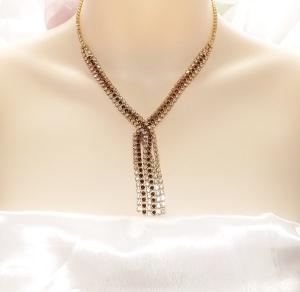 Vintage 70s black rhinestone and gold tone tassel necklace