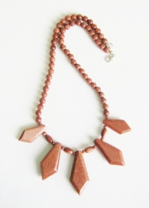 Goldstone aventurine glass dagger collar necklace