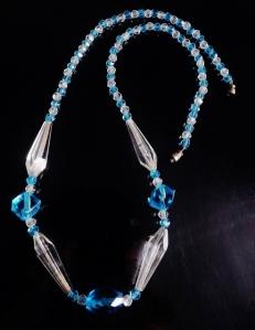 Vintage art deco circa 1930s Czechoslovakian fancy aqua blue and clear glass bead necklace