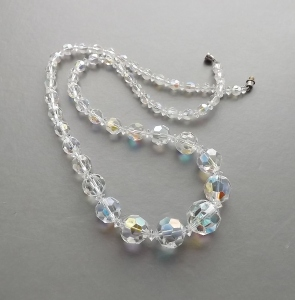 Vintage circa 1960s aurora borealis ab clear crystal glass necklace, with unusual large beads.