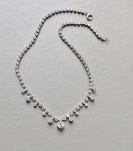Vintage 70s clear glass rhinestone paste diamante necklace