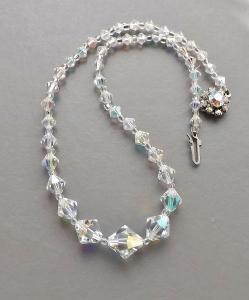 Vintage circa 1960s clear crystal ab aurora borealis bicone bead necklace.
