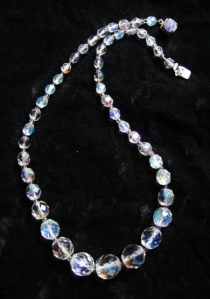 Vintage circa 1960s glass crystal AB aurora borealis graduated bead necklace with diamante clasp
