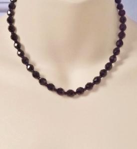 Vintage 1980s French Jet black glass Czech bead necklace