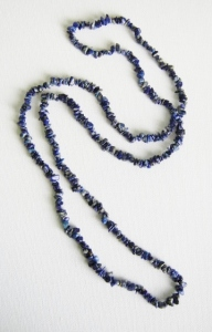 Natural lapis lazuli gemstone nugget chip bead long necklace