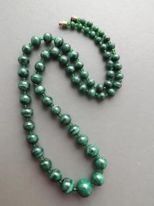 Natural solid malachite gemstone necklace, with chunky big malachite genuine beads.