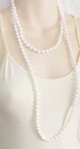 Vintage long flapper milk glass white bead necklace
