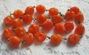 Vintage 1970s orange shimmer glass bead opaque necklace