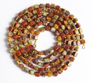 Vintage speckled Scottish glass agate square bead long rope flapper necklace