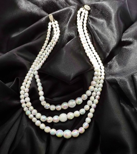 Vintage circa 1960s milk glass white ab aurora borealis glass faceted bead necklace.